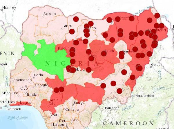Karte Boko Haram Nigeria 2014